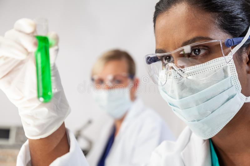 Asian Indian Female Scientist Researcher In Laboratory royalty free stock photo