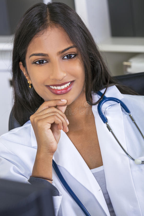 Asian Indian Female Woman Hospital Doctor stock images