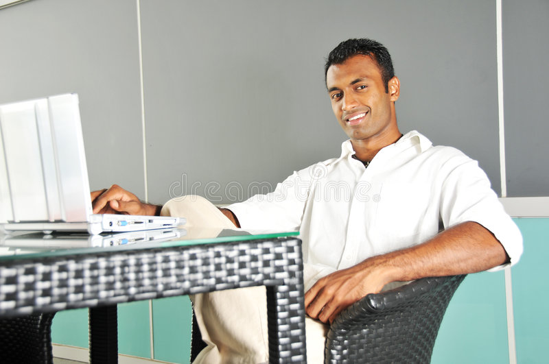 Asian Indian Man at Work with his computer royalty free stock photos