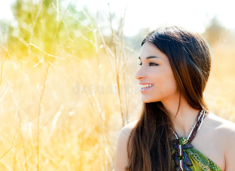Asian indian woman profile in golden field stock photos