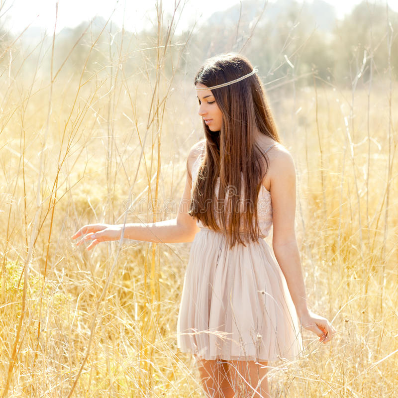Download Asian Indian Woman Walking In Golden Dried Field Stock Photo - Image: 24319222