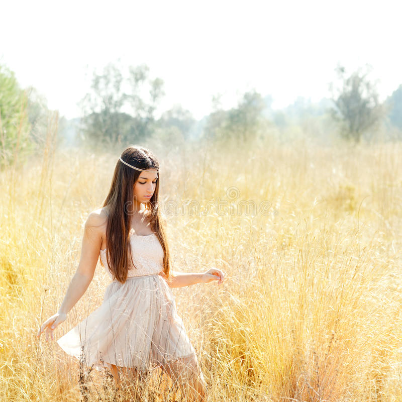 Download Asian Indian Woman Walking In Golden Dried Field Stock Image - Image: 24319429