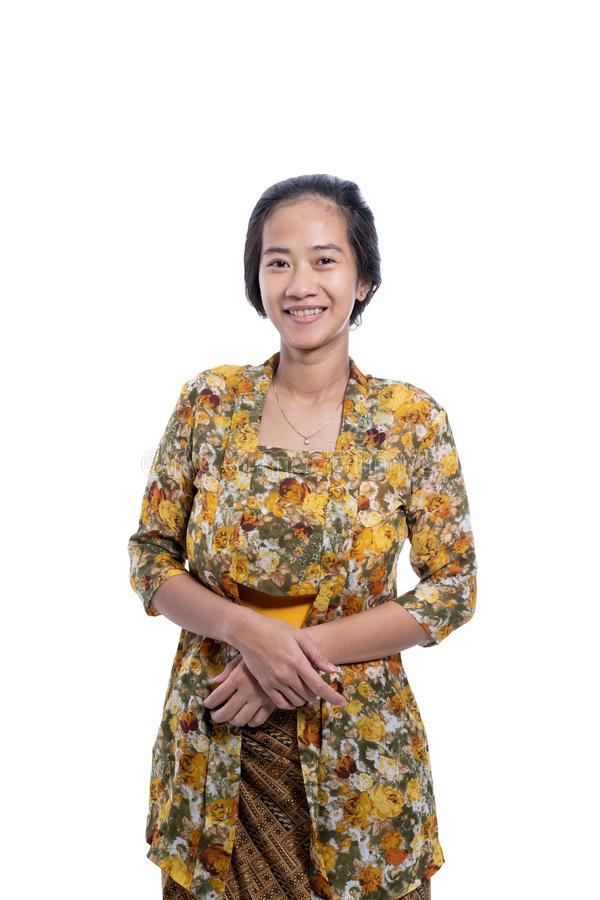 Asian indonesian woman wearing traditional javanese cloth stock photography