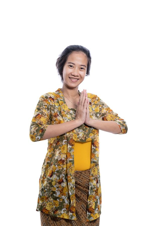Asian indonesian woman wearing traditional javanese cloth royalty free stock images