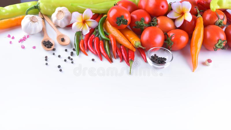Asian ingredients food fresh spices Vegetable tomato, chilli, g stock images