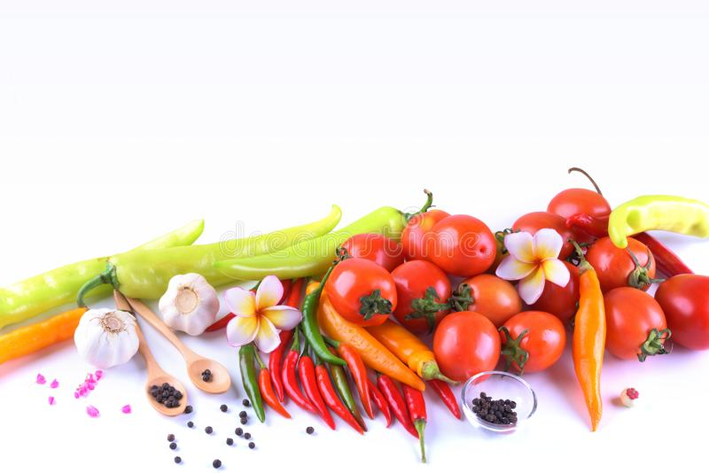Asian ingredients food fresh spices Vegetable tomato, chilli, g stock photos