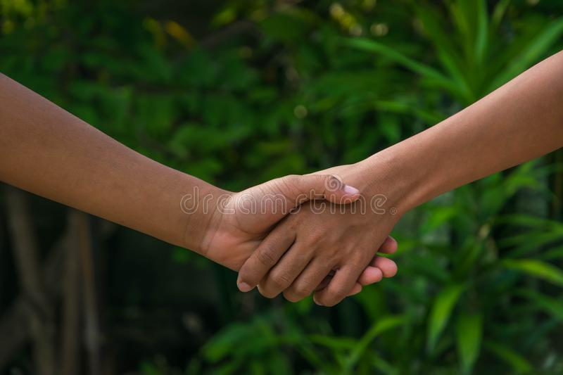 Kid's hands shake. Asian kid's hands shake together royalty free stock photography