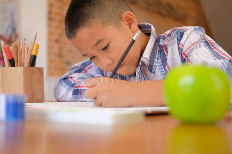 asian kid boy child schoolboy drawing picture. children activity stock photography