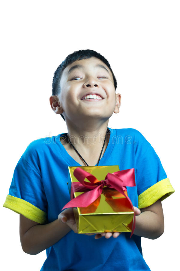 Asian kid feel happy when get a present with funny expression stock image