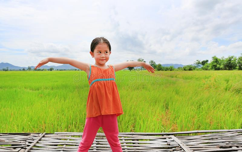 Asian kid girl stretch arms and relaxed at the young green paddy fields with looking up.  royalty free stock images