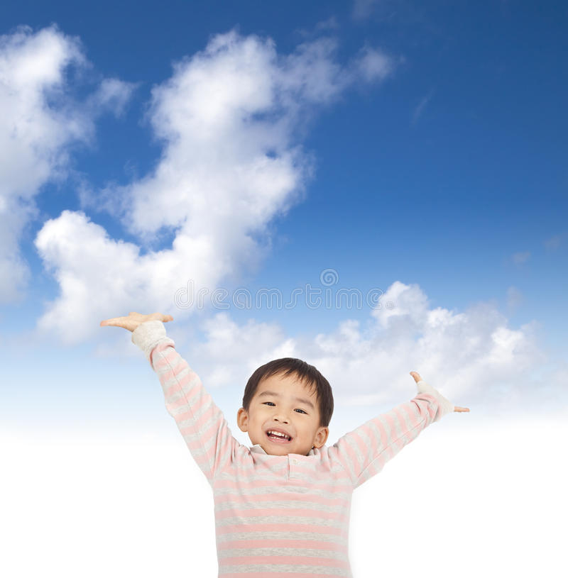 Asian kid raising hands stock photos