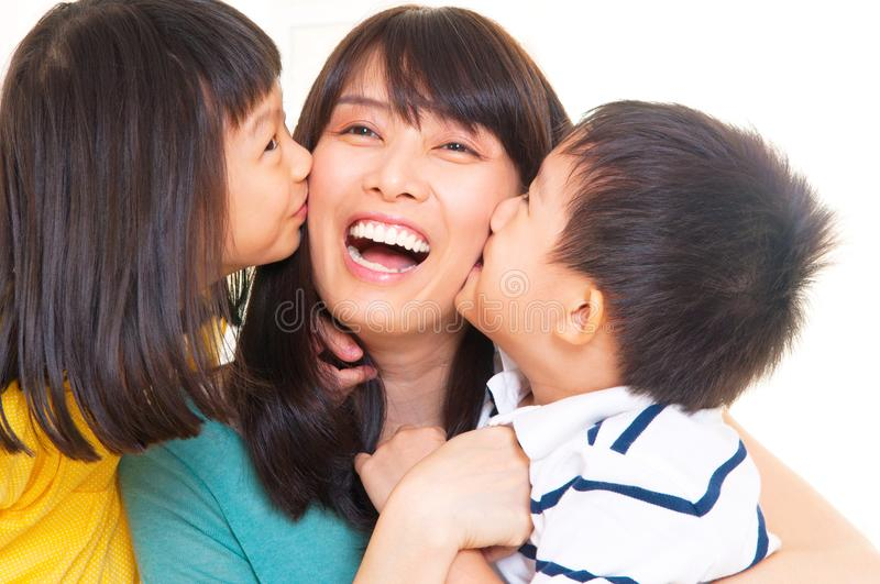 Asian mother and kids royalty free stock image