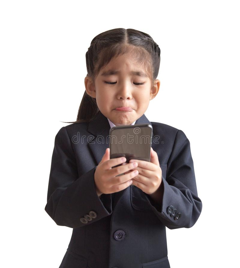 Asian kids model with business uniform in portrait model stock photography