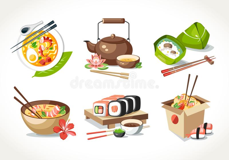 Asian kitchen food laksa soup tea pot ceremony zongzi sushi noodles chinese japanese thai dishes royalty free illustration