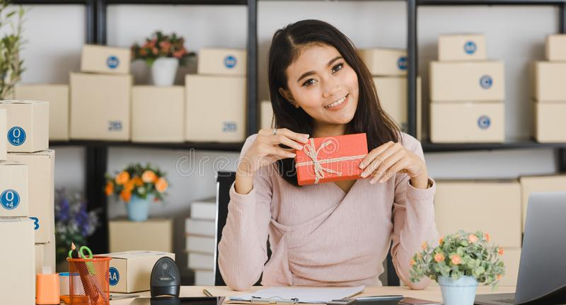 Asian lady on birthday theme royalty free stock images