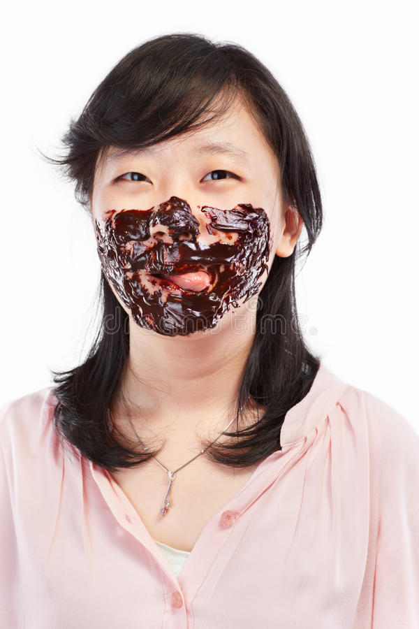 Asian lady and chocolate stock images