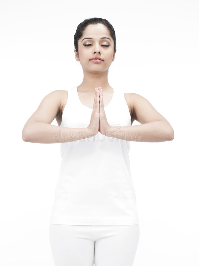 Asian lady doing yoga stock photo