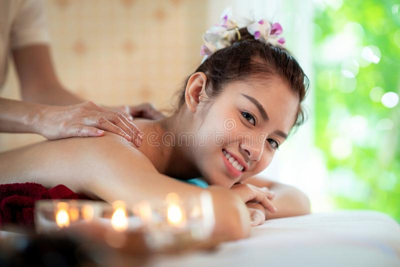Asian lady in spa shop and relax by Thai oil massage stock images