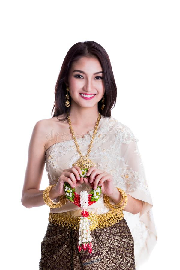 Asian lady in Thai dress costume royalty free stock photo