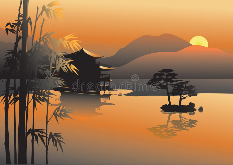 Asian lake. Magic asian lake with sunset background and bamboo vector illustration