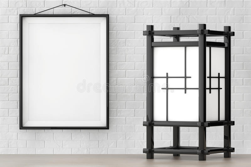 Asian Lamp in front of Brick Wall with Blank Frame. 3d Rendering. Asian Lamp in front of Brick Wall with Blank Frame extreme closeup. 3d Rendering vector illustration