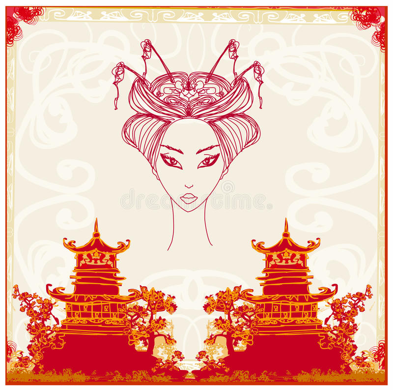 Download Asian Landscape And Beautiful Geisha Stock Vector - Image: 28231673