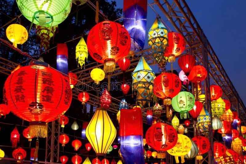 Asian lanterns in lantern festival stock images