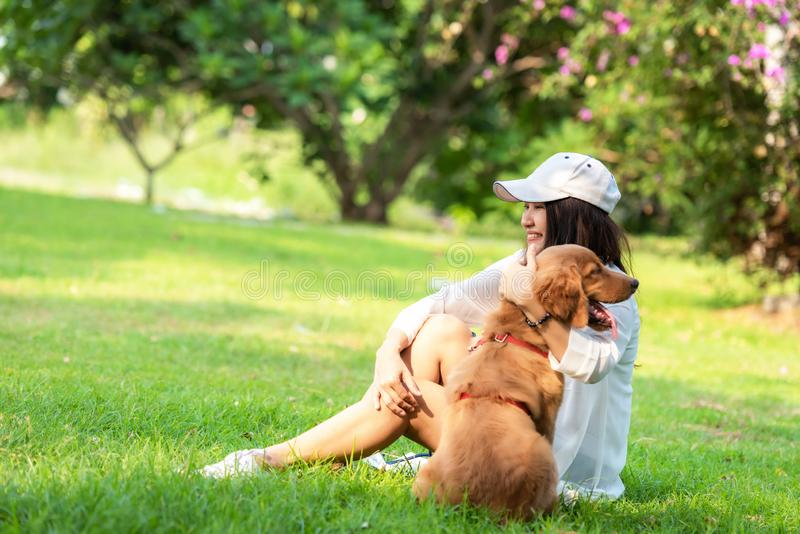 Asian lifestyle woman playing and hug young golden retriever friendship dog in outdoor royalty free stock images