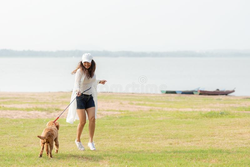 Asian lifestyle woman playing and running  with golden retriever friendship dog in sunrise outdoor the summer river park. royalty free stock photography