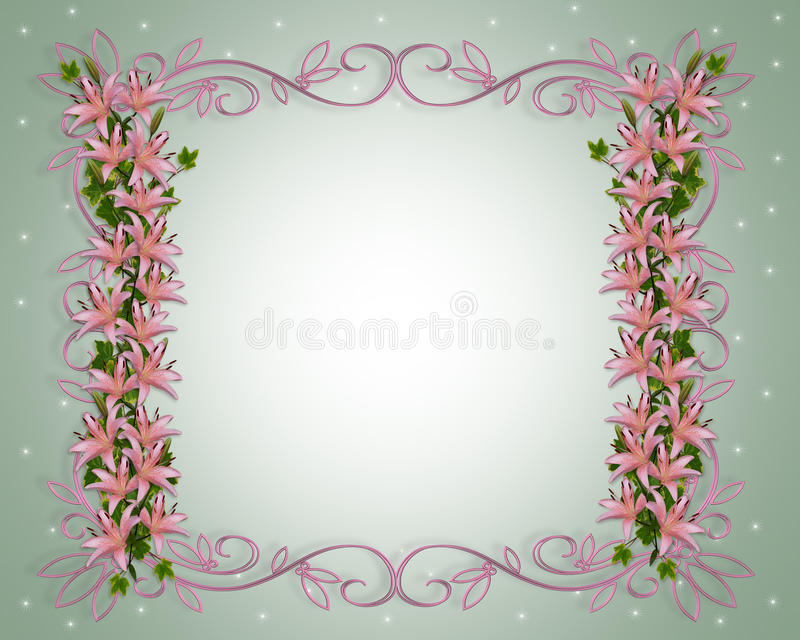 Asian lily flowers border royalty free stock photo