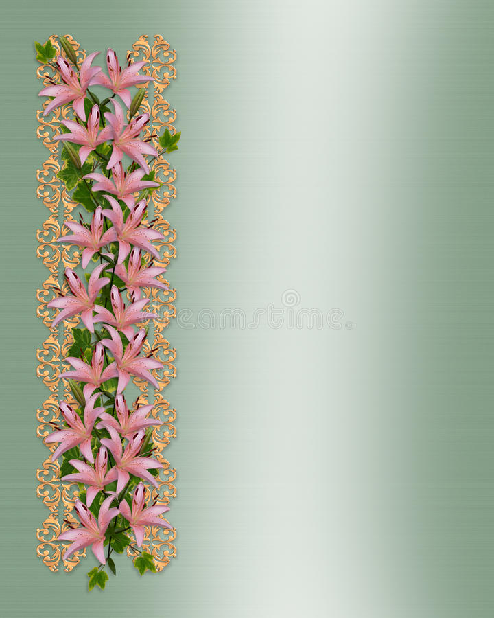 Wedding Floral Border Lilies Royalty Free Stock Images
