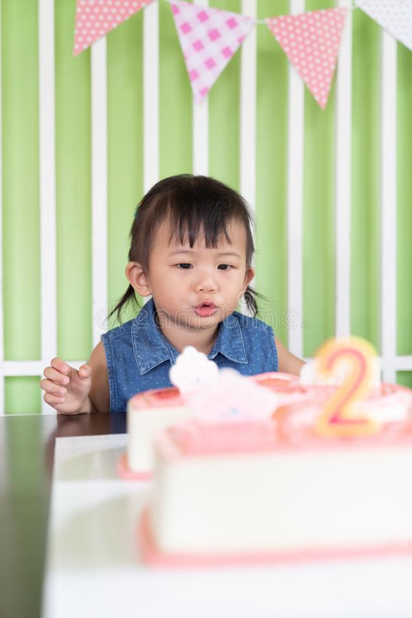 Asian little baby girl cheerful birthday royalty free stock image