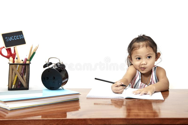 Asian little back go to school royalty free stock images