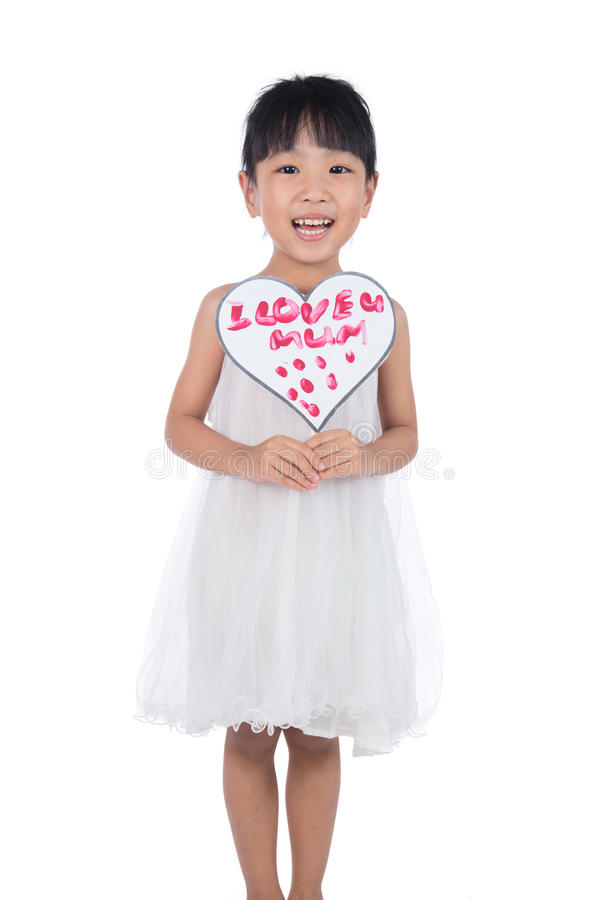 Asian Little Chinese Girl holding greeting card for mother`s day royalty free stock photography