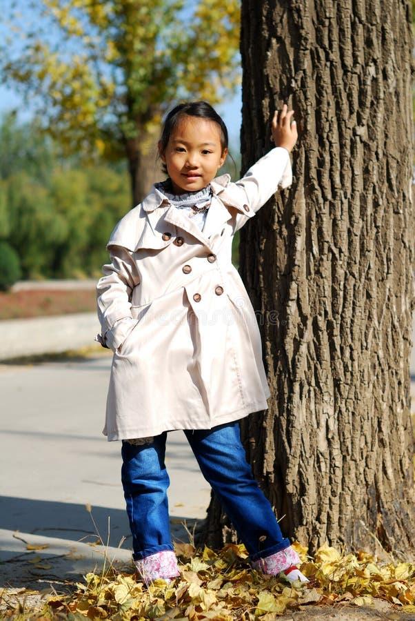 Asian Little Girl In Autumn Stock Image