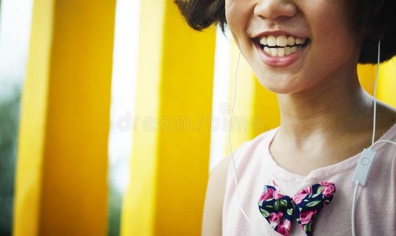 Asian kid happiness on the playground. royalty free stock photos