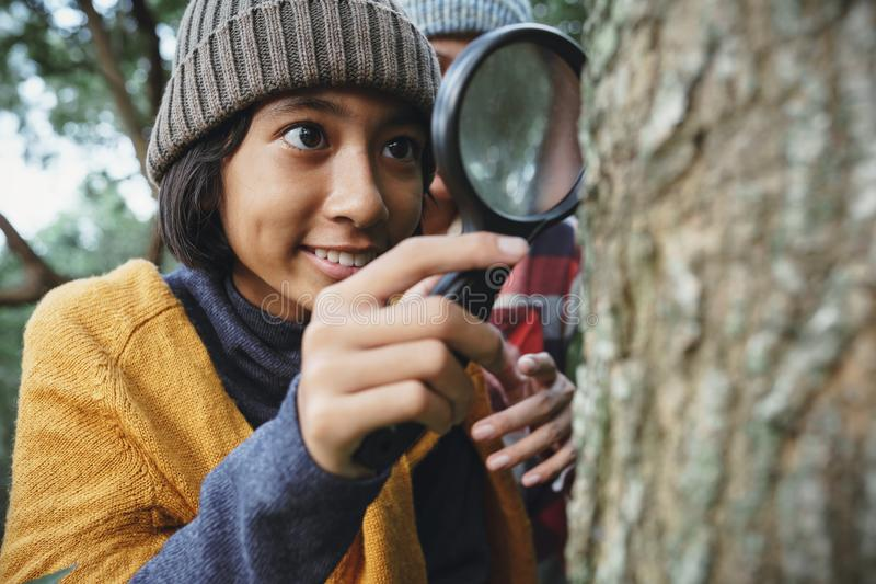 Asian little girl examining the tree stem through with magnifying glass While his mother stood behind in the morning stock images