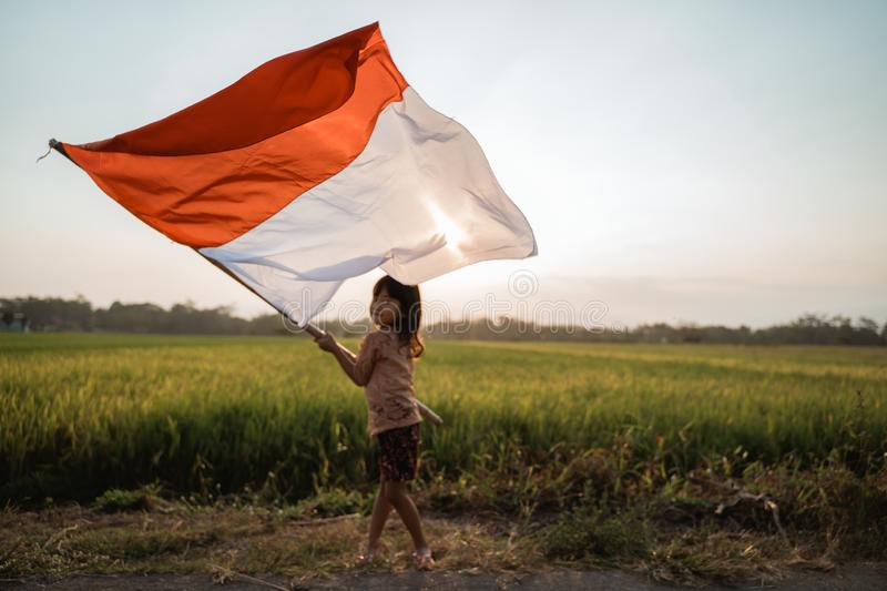 Asian little girl flapping Indonesian flag. With spirit in the rice field stock images
