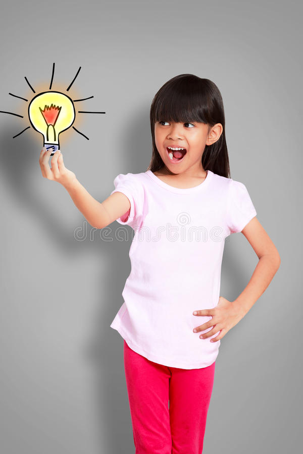 Asian little girl get idea royalty free stock images