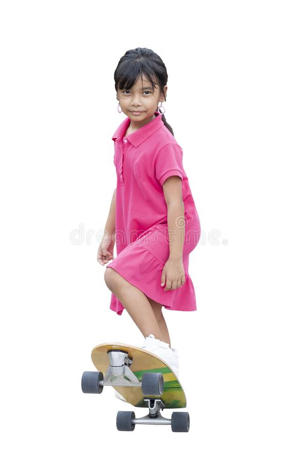 Cute girl in roller skates stock photo. Image of