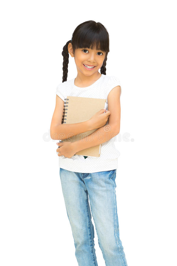 Asian little girl holding notebook royalty free stock photo
