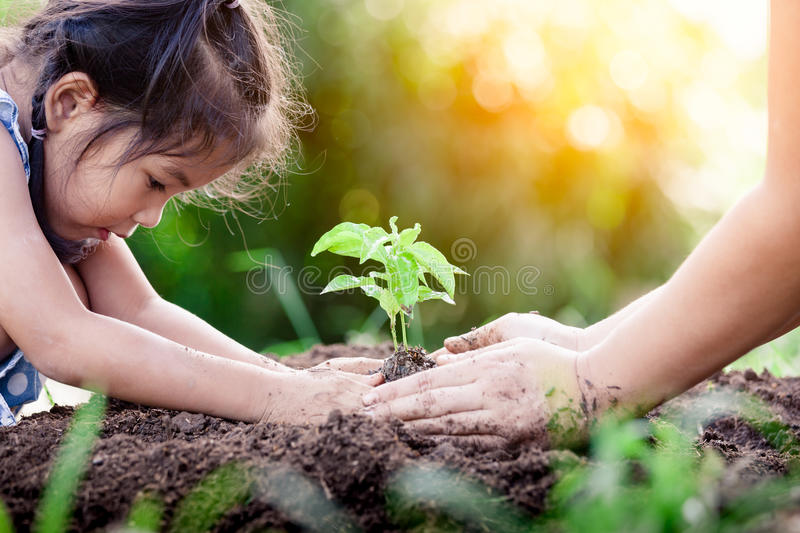 Asian little girl and parent planting young tree on black soil. Together as save world concept in vintage color tone stock photo