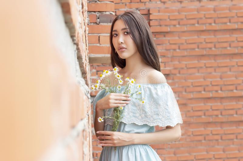 Asian-looking girl with a bouquet of camomile in her hands standing against red brick wall stock photos