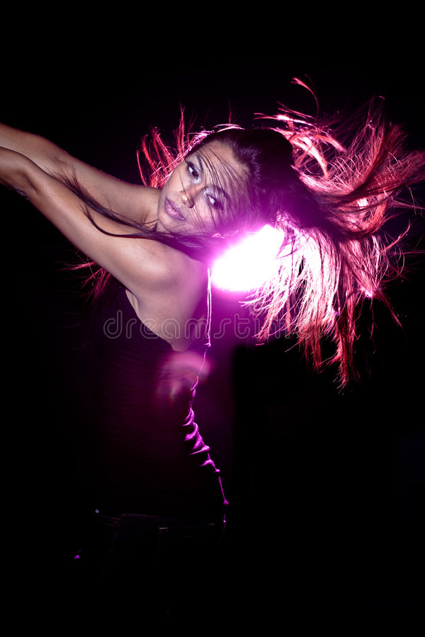 Download Asian Malay Woman With Disco Lighting Stock Image - Image: 8109921