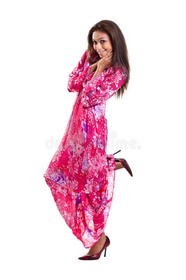Asian malay woman in traditional dress stock image