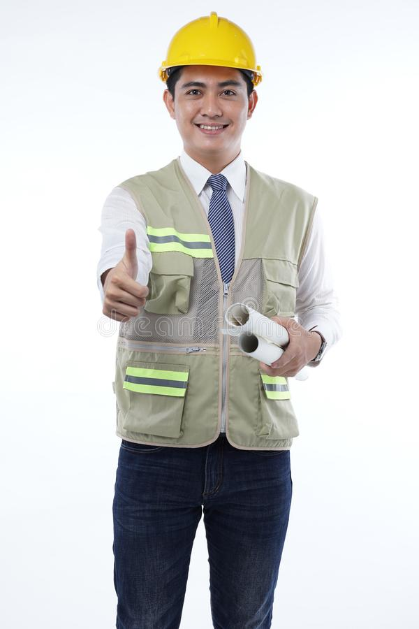 Handsome Asian Construction Worker Isolated on White Background. Asian Male Construction Worker Isolated on White Background royalty free stock photography
