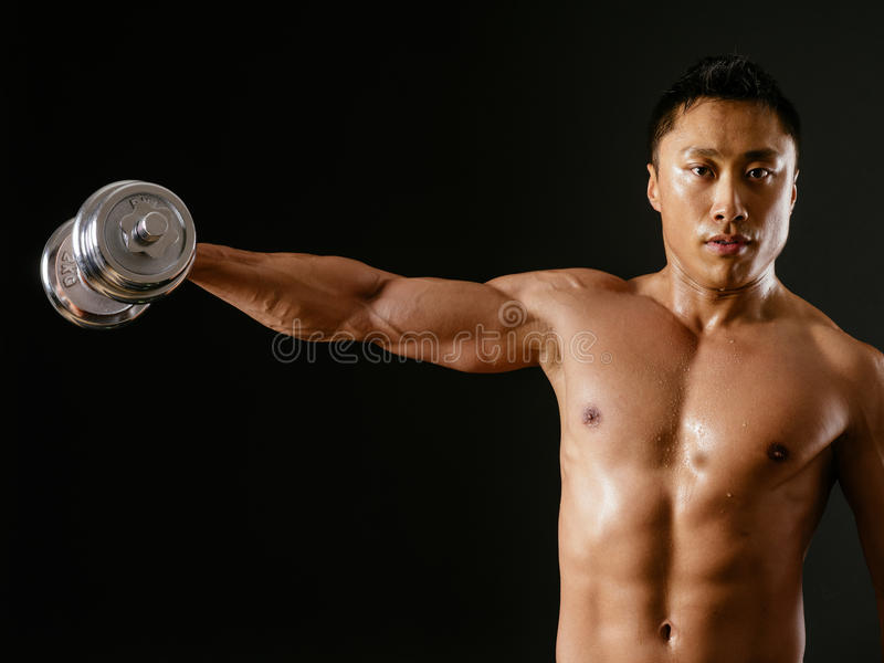 Download Asian Male Doing Single Shoulder Fly Stock Photography - Image: 33812472