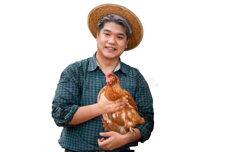 Asian male farmers, carrying hens stock photography