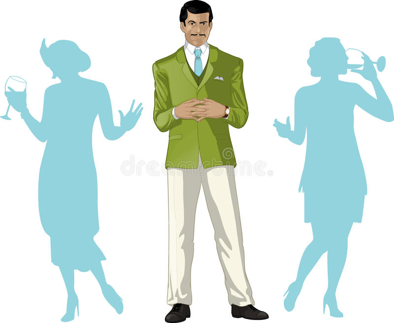 Asian male party host with female guests. Asian male greeting party host with female guests silhouettes retro styled cartoon character with colored lineart royalty free illustration