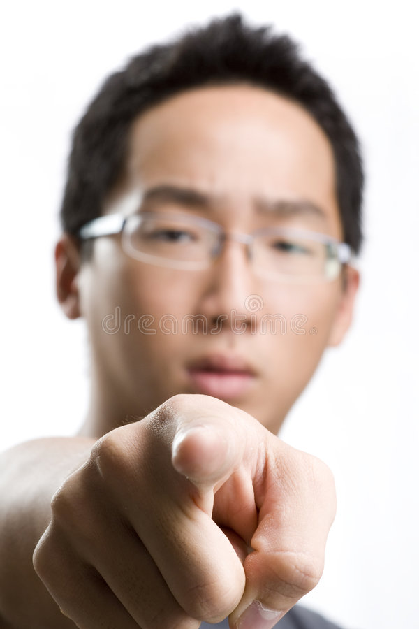 Download Asian male pointing at you stock image. Image of direct - 7261387